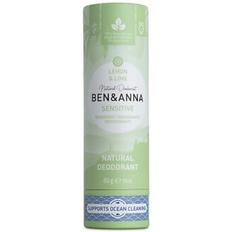 Ben & Anna Natural Deodorant Papertube Sensitive - Lemon & Lime -  60 gr