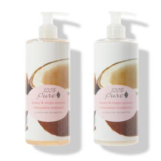 100% Pure Honey & Virgin Coconut Restorative Shampoo & Conditioner - 2x390ml