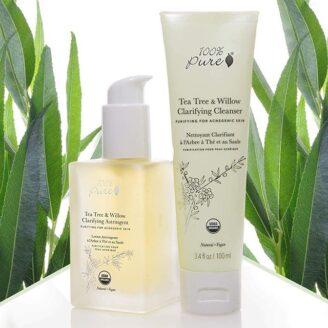 Hudpleiepakke fra 100% Pure Tea Tree & Willow Acne Clear Cleanser + Astringent
