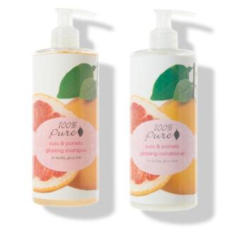 100% Pure Yuzu & Pomelo Glossing Shampoo & Conditioner- 2x 390 ml