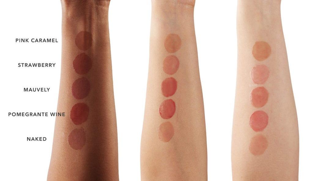 lip glosser swateches 100% Pure