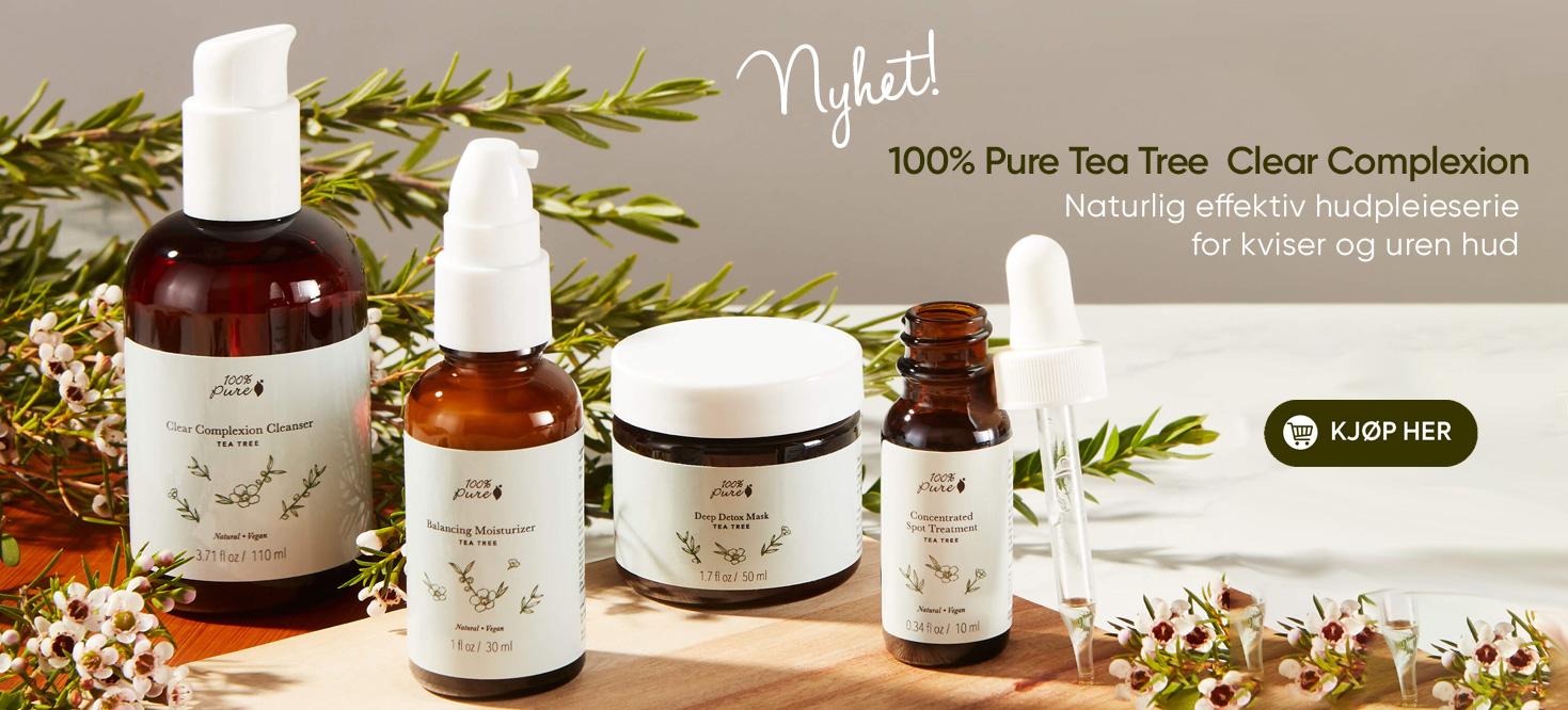 Nyhet Tea Tree clear complexion hudpleie fra 100% Pure