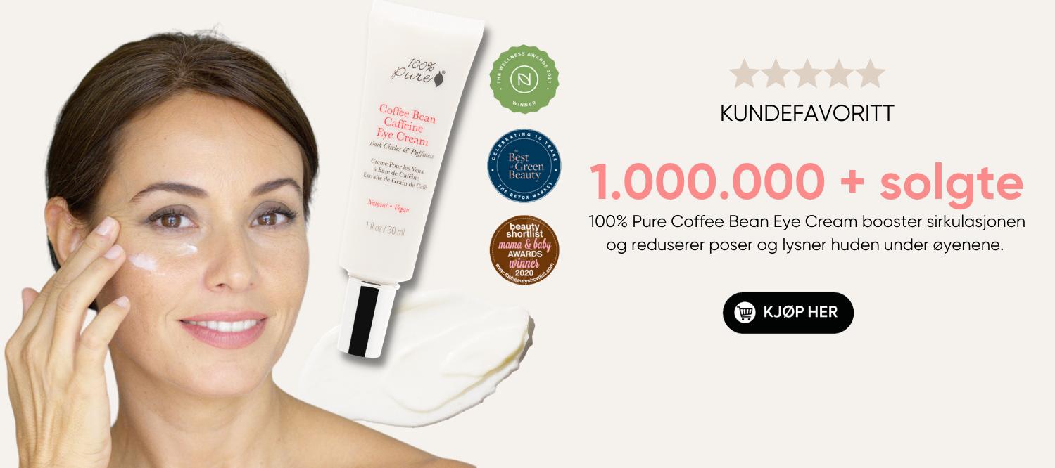 100% Pure Coffee Bean Eye Cream reduserer poser og ringer under øynene